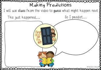 Making Predictions TemplateIncludes color and B&W templates for text and video predictions This easy to use predicting template will help your students practice making predictions based on what they know and what they have read/seen! Included are  predicting  templates for visual literacy (video clips) and text. ********************************************************************COPYRIGHT  First Door on the Left This product is for personal use in one classroom only.