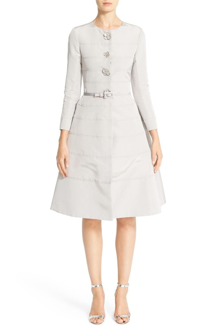 Main Image - Carolina Herrera Embellished Belted Silk Faille A-Line Dress