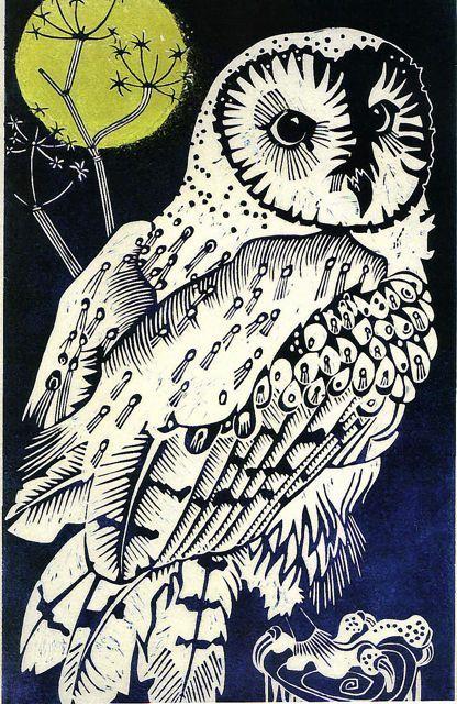 Barn Owl - linocut by Olivia Clifton Bligh