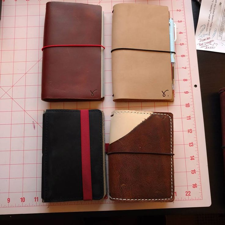 My 2017 lineup.  @retrowtures B6 slim in Roadrunner for journaling and #rockyourhandwriting and B6 slim in Doe for work.  @roterfaden_taschenbegleiter A6 black for @drawriot #drawriotdaily.  @speckledfawns pocket size Nude/ Kodiak wrap EDC and wallet.  #plannerlove #notebookaddict #roterfaden #roterfadentaschenbegleiter #speckledfawns #retrowtures #sojournerbyretrowtures