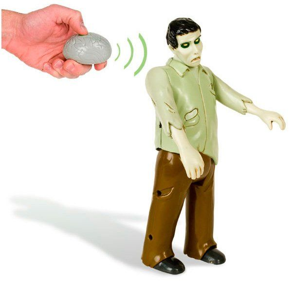 Remote Control Zombie. Check out this horrifying groaning remote control zombie. This remote control zombie is sure to scare your friends. Even the remote is a scary rotten zombie brain shape. Now you have a mini zombie as a friend. http://zocko.it/LEWL4