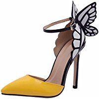 Minetom Mujer Elegante Estiletes Verano Sandalias Moda Tacón Alto Zapatos Con Mariposa