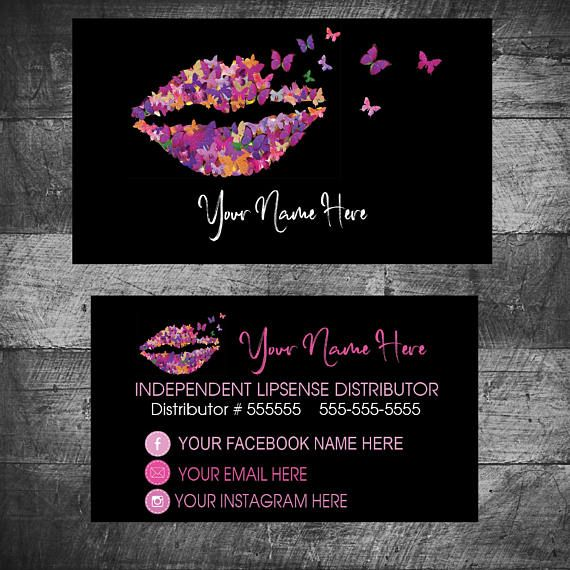 Butterfly Business Card LIPSENSE SeneGence Business Cards