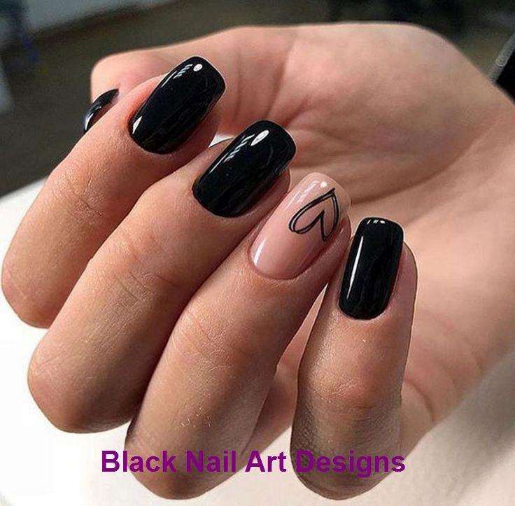 20 einfache schwarze Nail Art Design-Ideen #nailartideas   – Black Style Nails