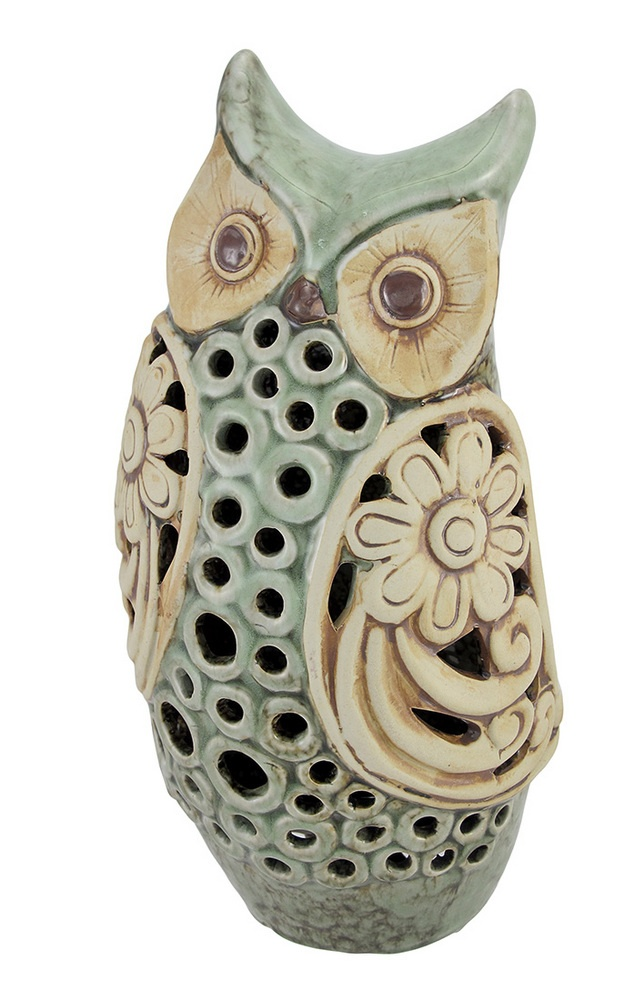 Abstract Owl Pottery 13 Inch Mottled Sage Green Ceramic