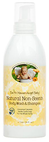 cool Earth Mama Natural Non-Scened Baby Wash for Sensitive Skin with Gentle Castile Soap, 34-Ounce