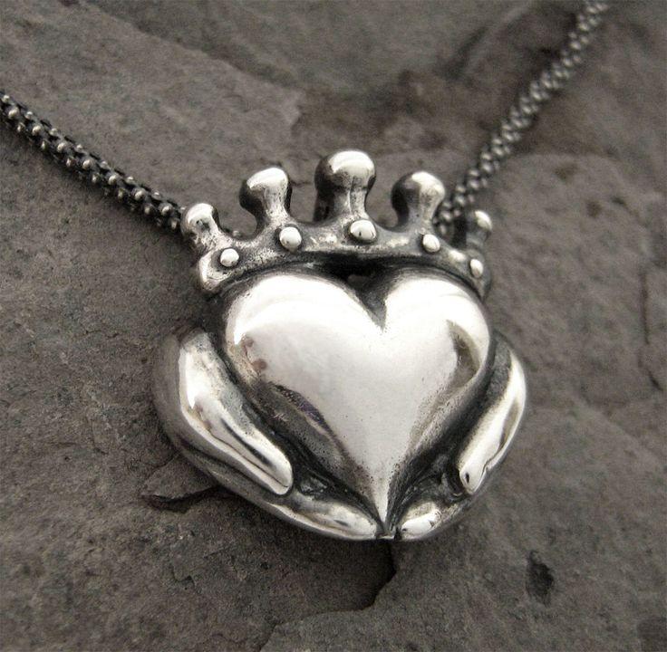 Claddagh Necklace - Modern Celtic Silver Jewellery - Irish Promise Pendant - Love - Faith - Friendship - Rickson Jewellery. $145.00, via Etsy.