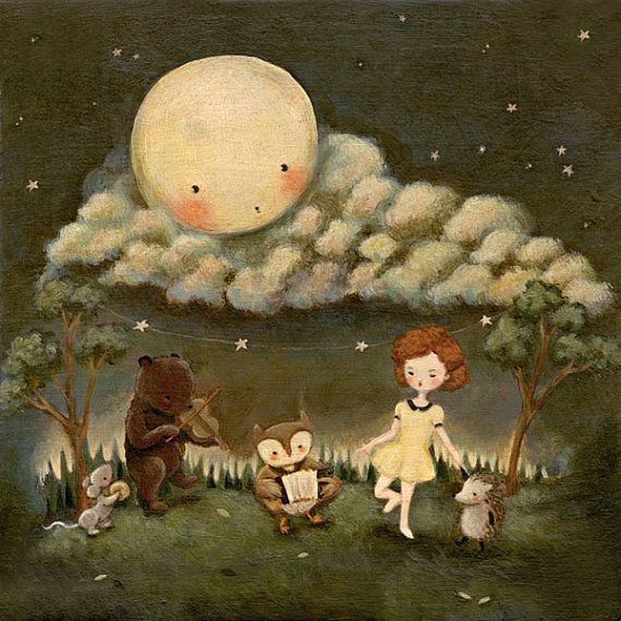 A Dance Party Under The Moon - Children's Art, Bear, Owl, Mouse, Hedgehog, Girl, Night, Nursery, Girl, Cute, Kids, Blue, Stars, Animals