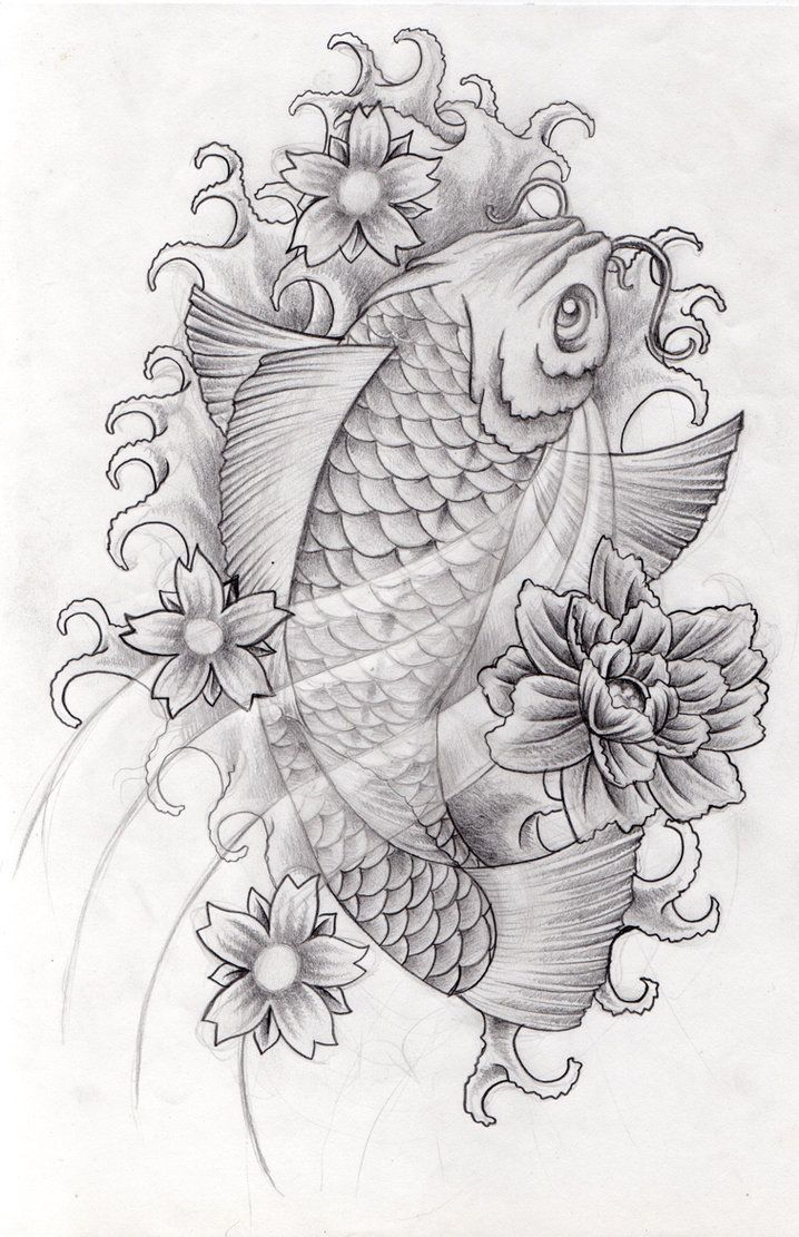 Cartoon fish coloring pages fish pouting fish sleepy cartoon fish - Black Koi Fish Tattoo Designs Koi Design 1 By Arielferreyra