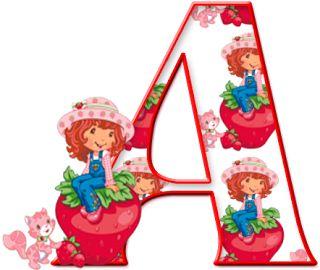 Alfabeto de Strawberry Shortcake sentada en una fresa. | Oh my Alfabetos!