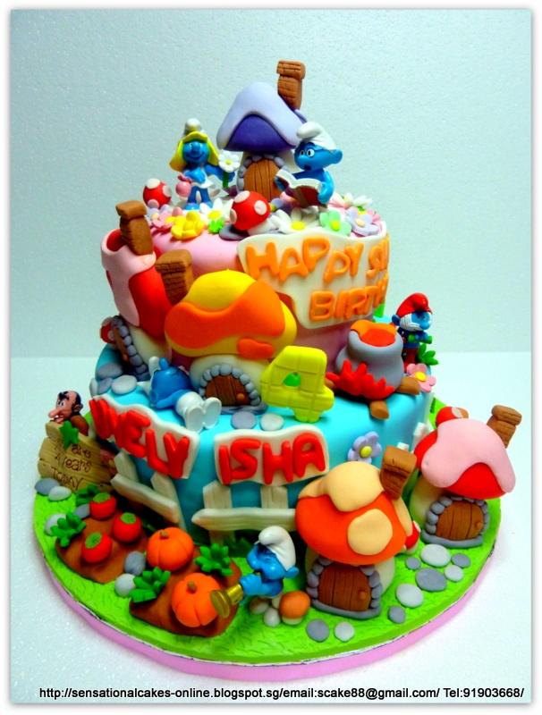 Colorful Smurf cake