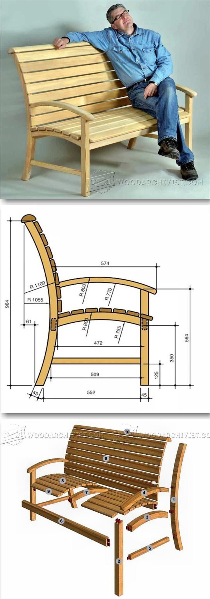Garden Seat Plans   Outdoor Furniture Plans and Projects   WoodArchivist com. 447 best Clever Wood Plans images on Pinterest   Furniture