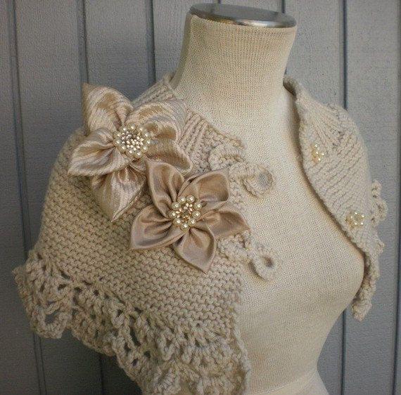 "wedding Custom Order Off White Romantic CAPELET OR SHAWL by ""denizy03"" on Etsy"