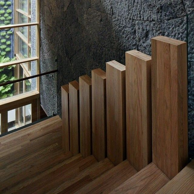 detalles que marcan la diferencia escalones de madera que se convierten en pasamanos
