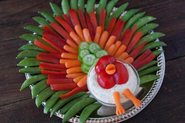 This is a veggie tray arranged to look like a turkey. I got the idea from someone else on this site. I made mine a little simpler. You can use any veggies you want. I am listing the ingredients that I used. I used a big serving tray, so you can edit the amount of veggies you use to the size of your tray. Even if it doesnt look like a turkey to some people, it is still arranged nicely. The ounces are just guesses because I already threw out the cans.