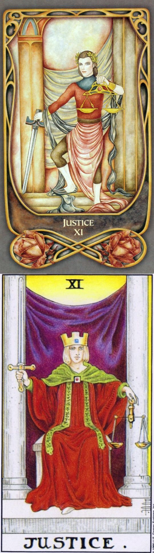JUSTICE: karmic retribution and turning a blind eye (reverse). Fenestra Tarot deck and Universal Tarot deck: free accurate tarot reading, love tarot cards and what is tarot card reading. New divination spell and tarot altar cloth. #wands #emperor #intuition # #altar #hermit
