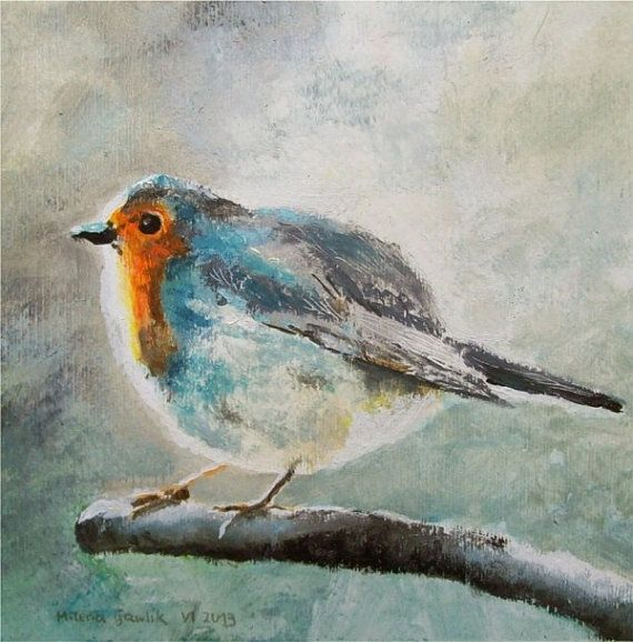 Robin Bird,  Fine Art GICLEE PRINT after an original painting by Milena Gawlik