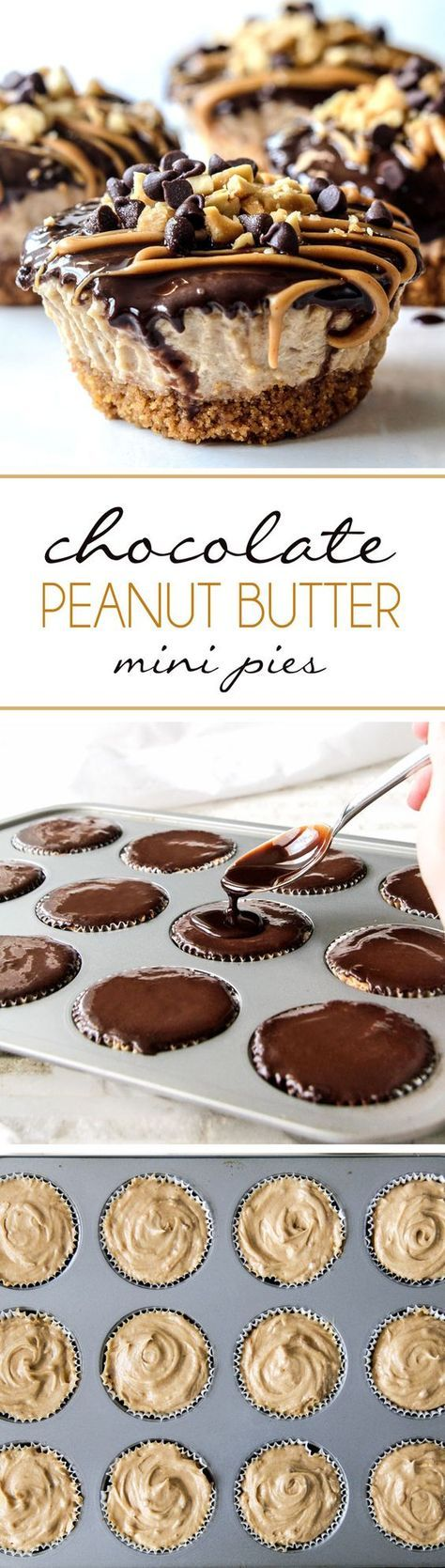 Mini Chocolate Peanut Butter Pies are easy, make ahead, almost NO BAKE and, decadently DELICIOUS with toffee graham cracker crust, creamy peanut butter filling, and silky chocolate ganache