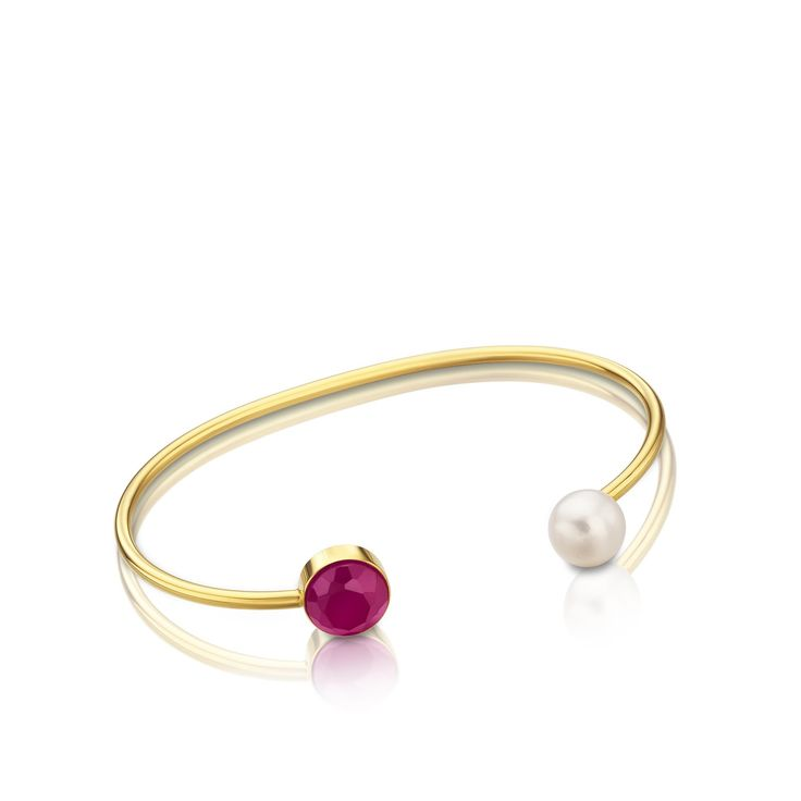 Vermeil TOUS Bright bracelet with cultured pearls and hydrothermal ruby with mother of pearl