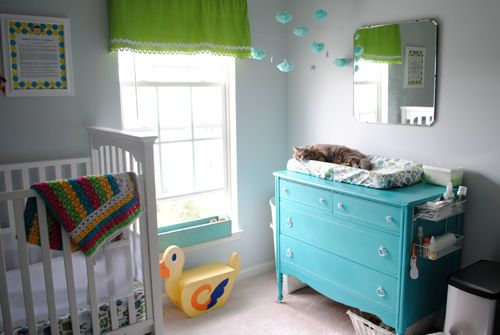 Like this repainted dresser... cute! And the curtains are cute :) And I like the way grey mixes in with these colors!Old Dressers, Dressers Change Tables, Kids Room, Baby Room, Wire Baskets, Vintage Nurseries, Changing Tables, Painting Dressers, Babies Rooms