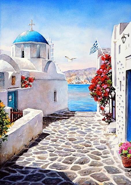 Stunning watercolor paintings of Greece created by artist Pantelis Zografos and his father.