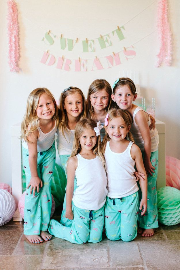 Gift guests matching pajamas… | 39 Slumber Party Ideas To Help You Throw The Best Sleepover Ever