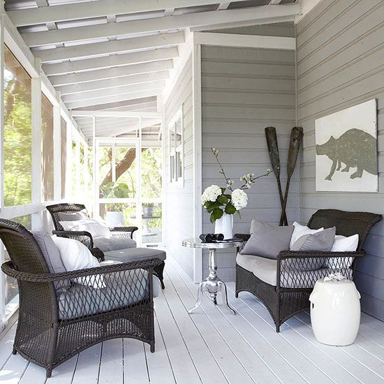 gray siding, white ceiling boards
