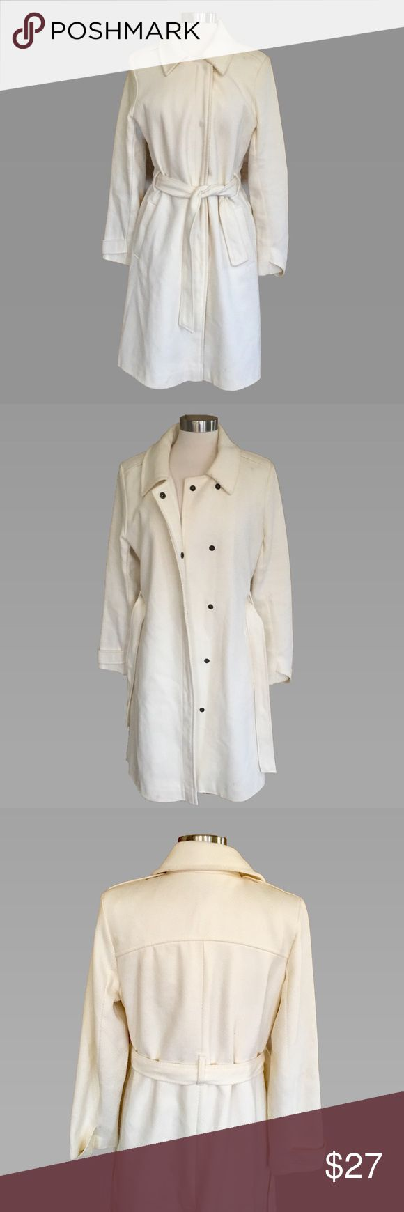 Old Navy Cream Belted Coat L Lovely Old Navy cream colored coat with belt and buttons. It's a lovely, light coat for spring or fall in a cotton blend. Or wear it on a mild winter's day for a winter white look. Size L.   In GUC, some pilling on the arms. Price reflects.   Measurements: Length: Pit to pit: Old Navy Jackets & Coats