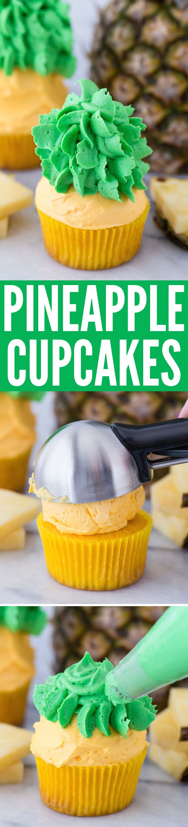 Pineapple cupcakes - cupcakes that look like PINEAPPLES! The buttercream tastes like pineapple too!