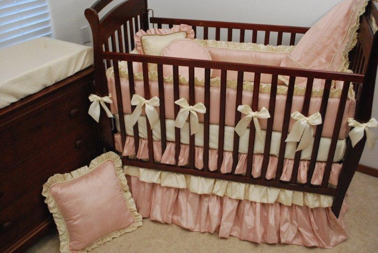 Pink And Cream Silk Crib Bedding Tufted Style Crib
