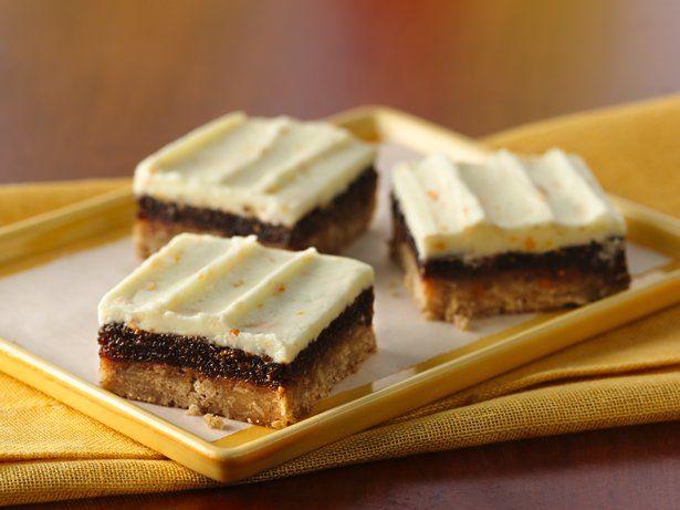 Cinnamon Fig Bars with Orange Buttercream Frosting. #food #desserts #bars