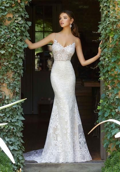 Medallion Style, Embroidered Appliqués on a Slim Tulle Fit and Flare Gown with …