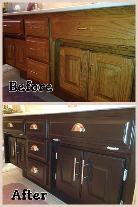 The Color Wheel Refinished These Bathroom Cabinets Using