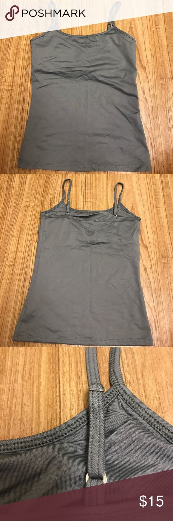 White House Black Market gunmetal gray camisole EUC White House Black Market gunmetal gray camisole with adjustable straps and built in shelf bra. No damages White House Black Market Tops Camisoles