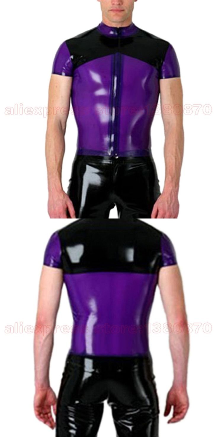 Sexy Latex Men Top T-shirt Short Sleeves Black and Purple Rubber Latex Fetish Tee with Front Zipper S-LSM048
