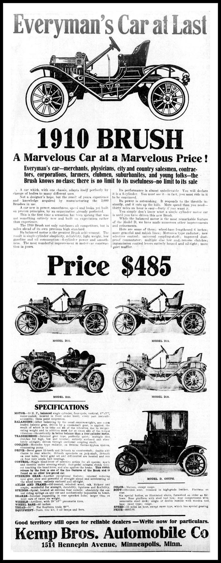 Https flic kr p cojcve advertising for the 1910 brush automobile in the minneapolis minnesota star tribune newspaper october 17 1909 the brush motor