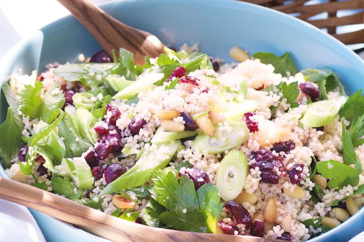 Crasin and pine nut salad Pile plates with this sweet yet tangy salad.