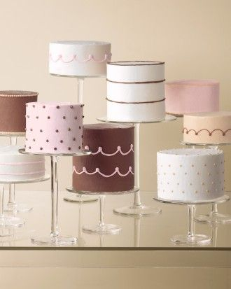 Instead of one giant traditional cake, serve a variety of little ones with a choice of flavors.. Martha Stewart weddings