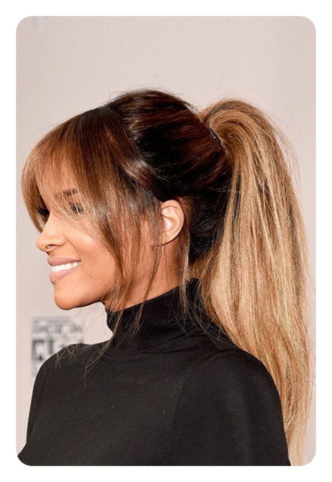 97 Amazing Ponytail With Bangs Hairstyles Hair Styles Pony Hairstyles Medium Length Hair Styles