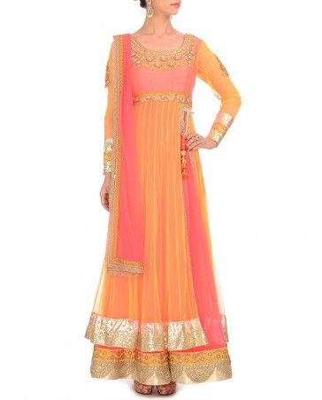 Neon Pink & Mango Anarkali Suit- Buy Kylee,Kylee,Day 1 Online | Exclusively.in