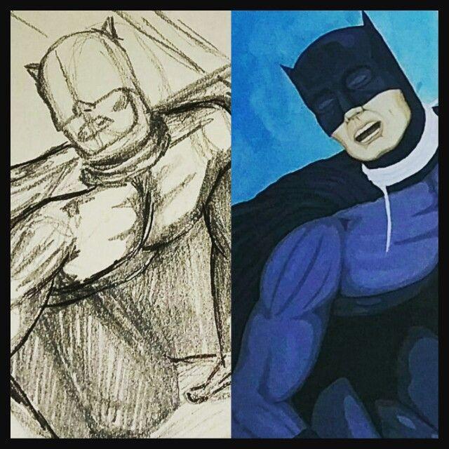 Batman meets his match (and it's not Superman). #wip #batman #acrylicart  #empowerment #superhero #contemporaryartist #anthonymoman