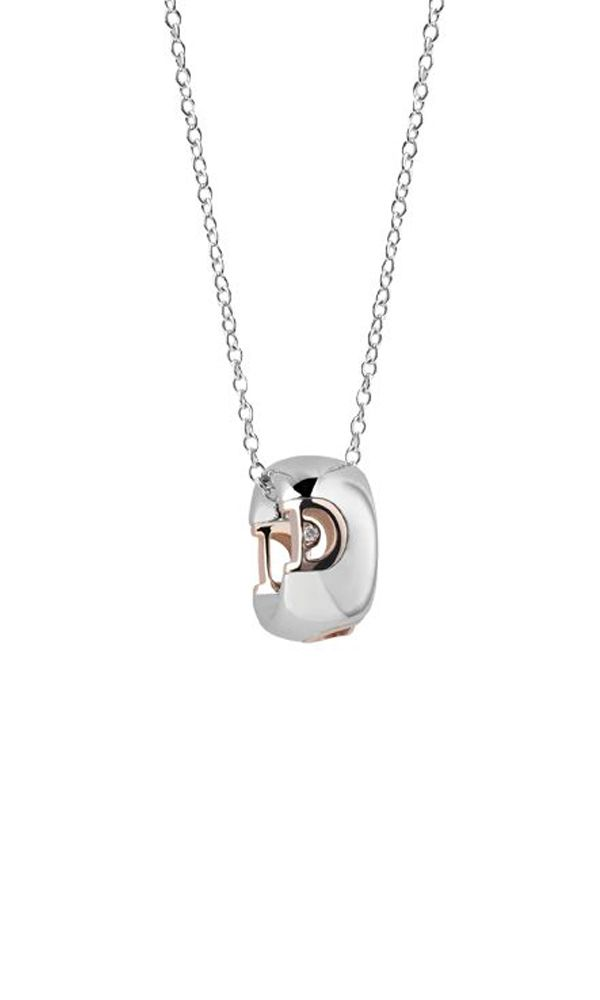 D.Icon White and pink gold necklace with diamond