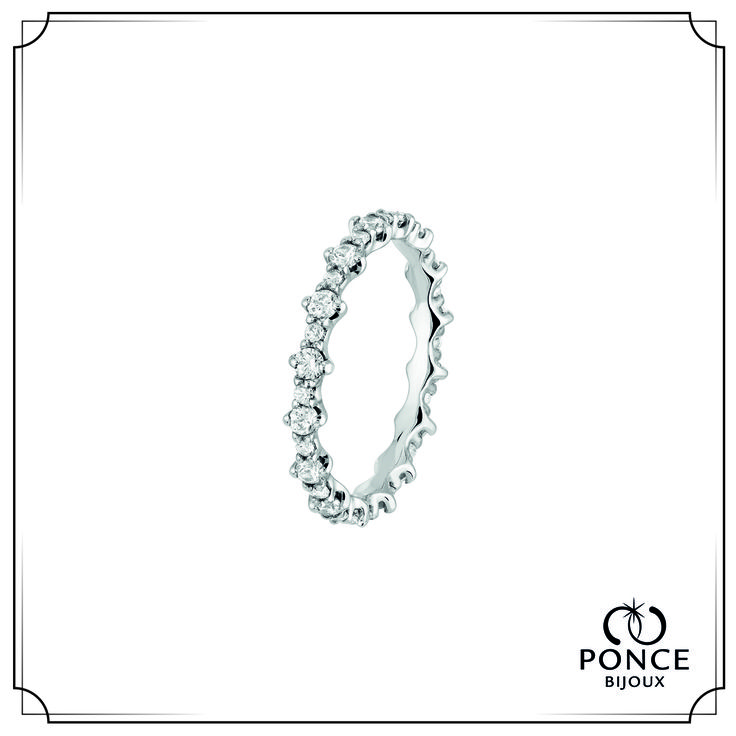 Bijoux Ponce TO YOU Alliance Diamant, Alliance femme, alliance Platine, Tour complet diamants H-SI,  16 x 0,01 ct et 16 x 0,035 ct, poids total  0,72 ct #BijouxPonce #Paris #MadeInFrance #Love #mariage #alliance #platine