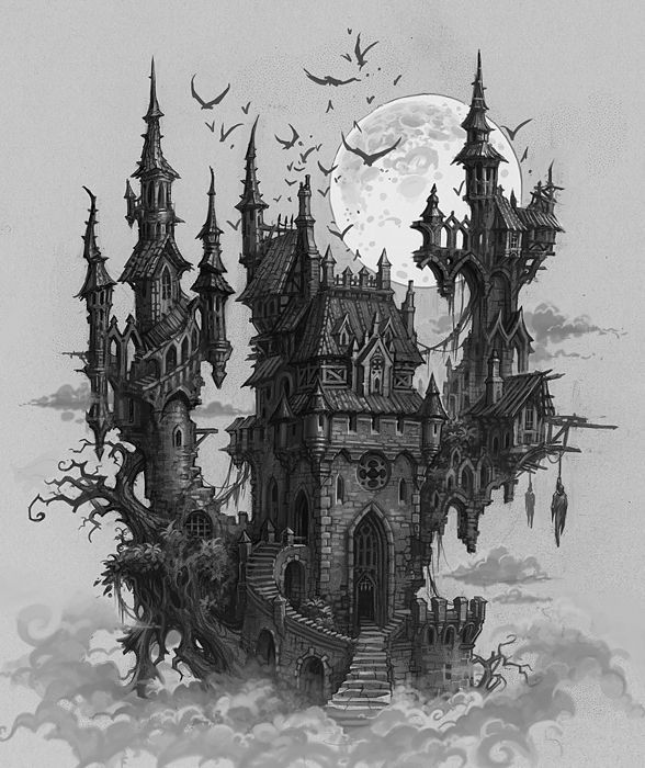 fantasy landscape gothic castle dark 2d architecture concept haunted castles deviantart tattoo