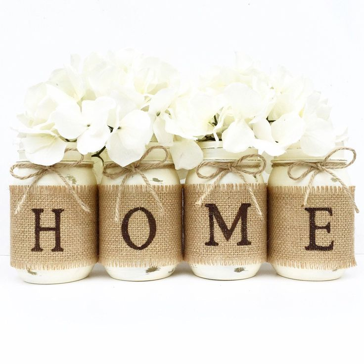 HOME Mason Jar Set, Home Decor, Mantle, Centerpiece, Farmhouse Decor, Country, Burlap, Housewarming Gift, Wedding Gift, Rustic, Gift, Home by MidnightOwlCandleCo on Etsy https://www.etsy.com/listing/456258880/home-mason-jar-set-home-decor-mantle