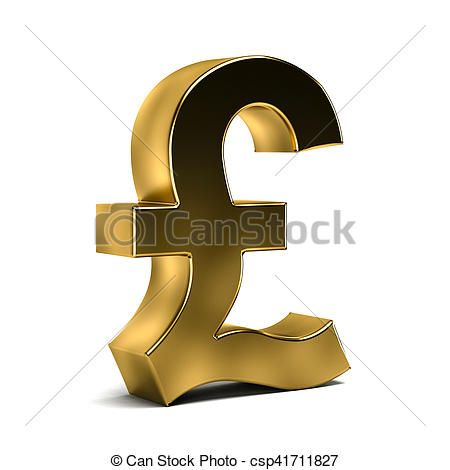 3D Golden Pound Currency Symbol - csp41711827