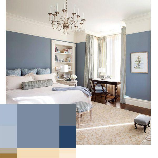 combinación tonos azules dormitorio en zona fama y riqueza (azules, morados y rojos)