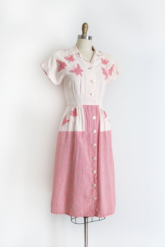 vintage 1940s dress // 40s novelty butterfly dress by TrunkofDresses