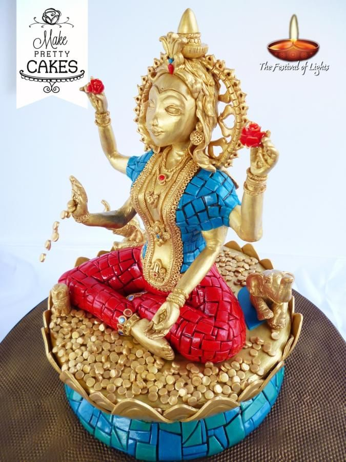 EDITOR'S CHOICE (10/02/2014) Goddess Lakshmi by Make Pretty Cakes View details here: http://cakesdecor.com/cakes/159614-goddess-lakshmi