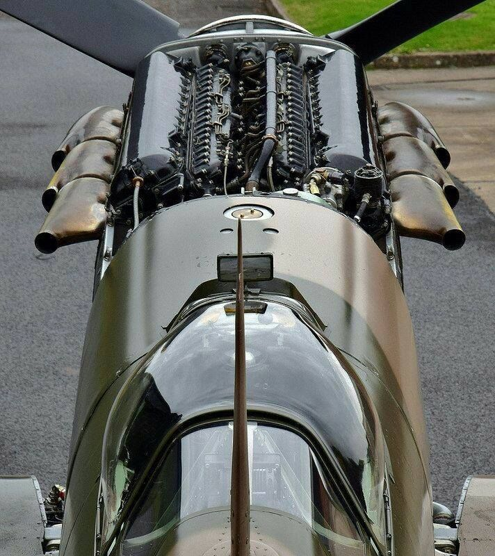 Spitfire cowling and engine
